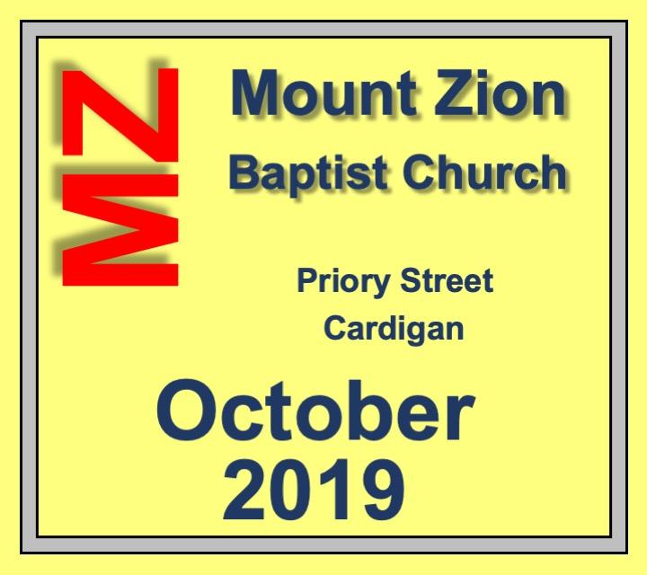 Mount Zion Baptist Church Cardigan October 2019 Diary